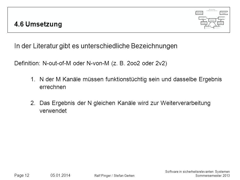Software in sicherheitsrelevanten Systemen Sommersemester 2013 05.01.2014 Ralf Pinger / Stefan Gerken Page 12 4.6 Umsetzung In der Literatur gibt es unterschiedliche Bezeichnungen Definition: N-out-of-M oder N-von-M (z.