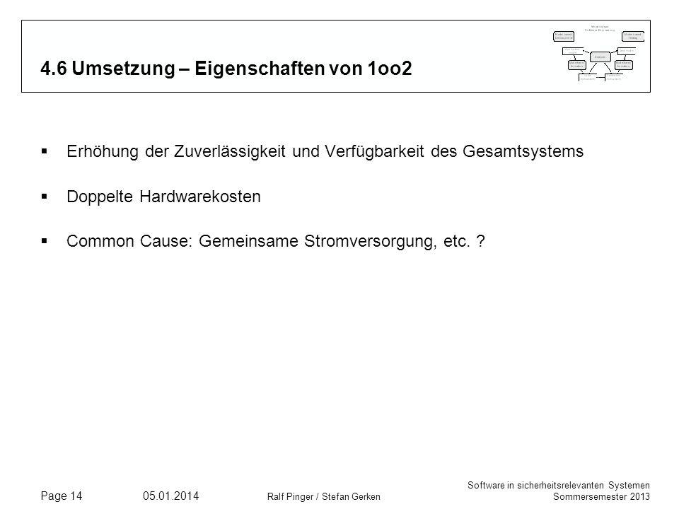 Software in sicherheitsrelevanten Systemen Sommersemester 2013 05.01.2014 Ralf Pinger / Stefan Gerken Page 14 4.6 Umsetzung – Eigenschaften von 1oo2 Erhöhung der Zuverlässigkeit und Verfügbarkeit des Gesamtsystems Doppelte Hardwarekosten Common Cause: Gemeinsame Stromversorgung, etc.