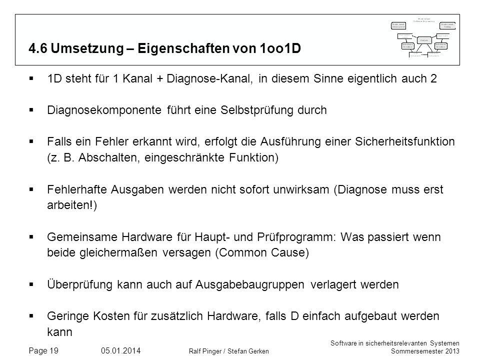 Software in sicherheitsrelevanten Systemen Sommersemester 2013 05.01.2014 Ralf Pinger / Stefan Gerken Page 19 4.6 Umsetzung – Eigenschaften von 1oo1D