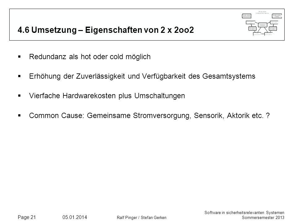 Software in sicherheitsrelevanten Systemen Sommersemester 2013 05.01.2014 Ralf Pinger / Stefan Gerken Page 21 4.6 Umsetzung – Eigenschaften von 2 x 2oo2 Redundanz als hot oder cold möglich Erhöhung der Zuverlässigkeit und Verfügbarkeit des Gesamtsystems Vierfache Hardwarekosten plus Umschaltungen Common Cause: Gemeinsame Stromversorgung, Sensorik, Aktorik etc.