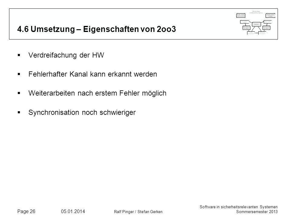 Software in sicherheitsrelevanten Systemen Sommersemester 2013 05.01.2014 Ralf Pinger / Stefan Gerken Page 26 4.6 Umsetzung – Eigenschaften von 2oo3 V