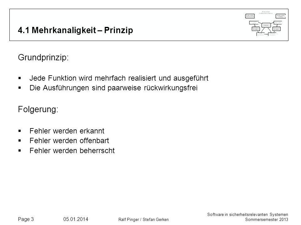 Software in sicherheitsrelevanten Systemen Sommersemester 2013 05.01.2014 Ralf Pinger / Stefan Gerken Page 3 4.1 Mehrkanaligkeit – Prinzip Grundprinzi