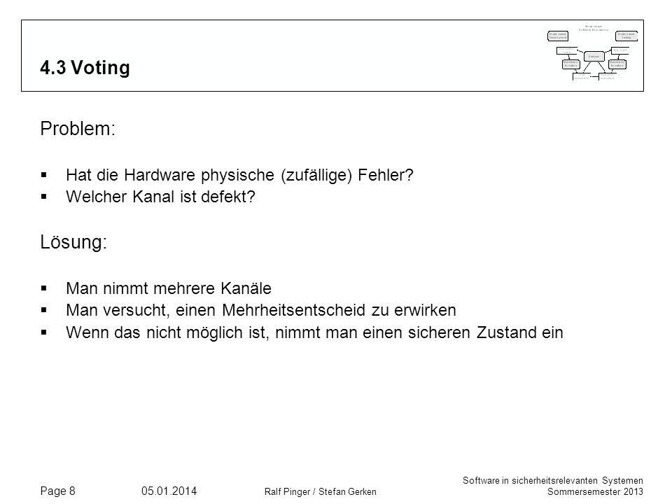 Software in sicherheitsrelevanten Systemen Sommersemester 2013 05.01.2014 Ralf Pinger / Stefan Gerken Page 8 4.3 Voting Problem: Hat die Hardware phys