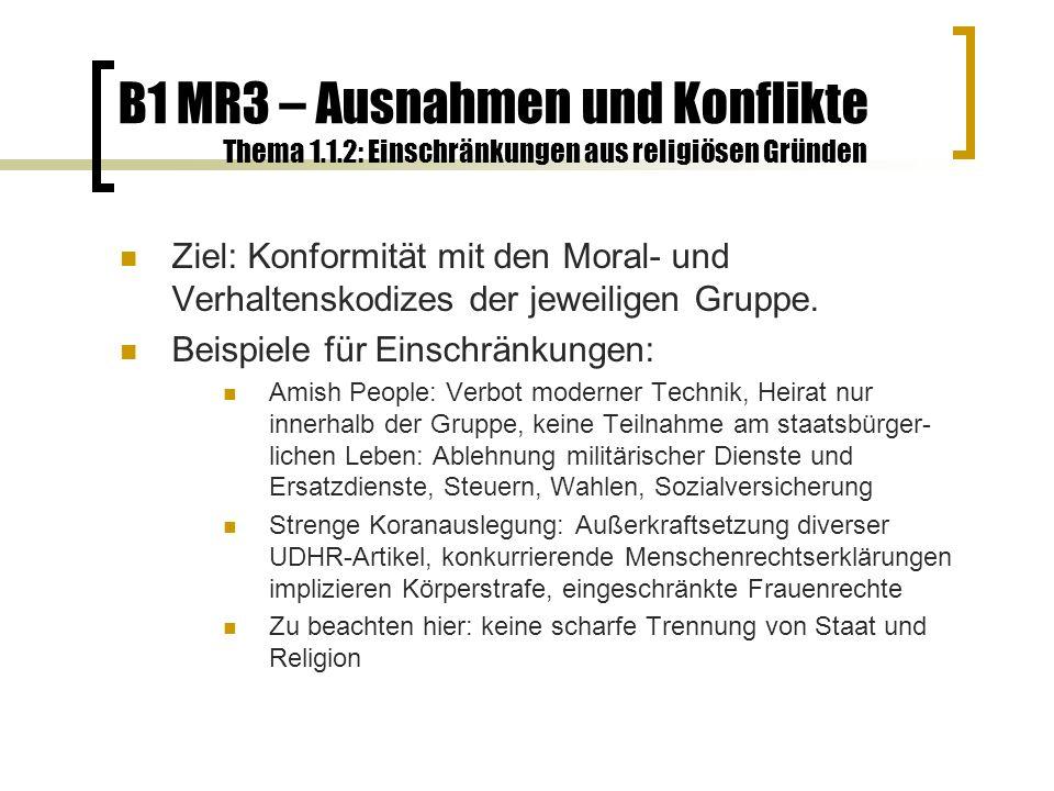 B1 MR3 – Ausnahmen und Konflikte Thema 1.1.2: Einschränkungen aus religiösen Gründen Ziel: Konformität mit den Moral- und Verhaltenskodizes der jeweiligen Gruppe.