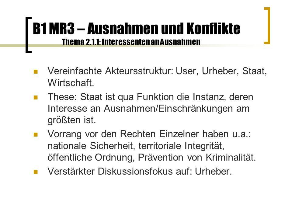 B1 MR3 – Ausnahmen und Konflikte Thema 2.1.2: Interessenten an Ausnahmen Grundsätzlicher Konflikt zwischen dem Verwertungsinteresse des Urhebers und dem öffentlichen Interesse am Gut Information.