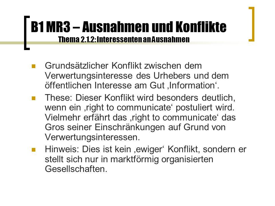 B1 MR3 – Ausnahmen und Konflikte Thema 2.2.1: Zensur Zensur ist eklatanter Eingriff in die Menschenrechte fast aller Beteiligten: Produzenten, Providern wie Konsumenten.