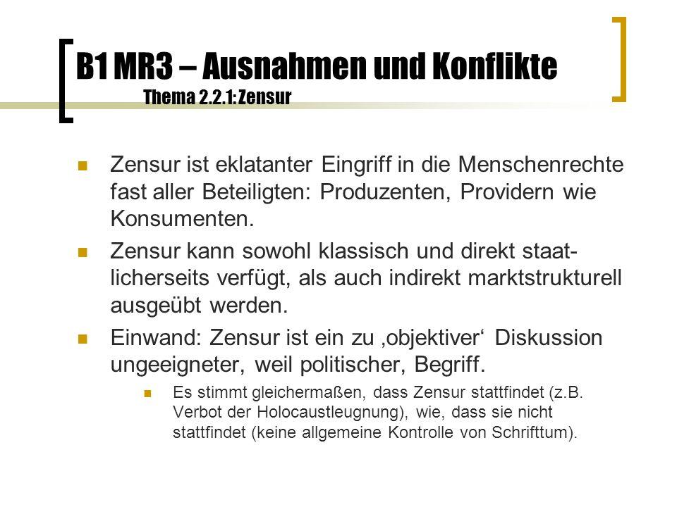 B1 MR3 – Ausnahmen und Konflikte Thema 2.2.2: Zensur Verweis von der Zensur auf Selbstzensur Beispiele: Kritik an Werbekunden einer Zeitschrift; entschärfte Filme und Computerspiele wg.