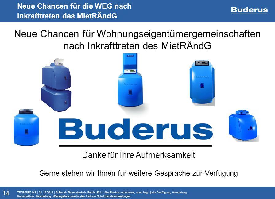 Monitoringbericht Neue Chancen für die WEG nach Inkrafttreten des MietRÄndG TTDB/SGC-MZ   31.10.2013   © Bosch Thermotechnik GmbH 2011. Alle Rechte vo