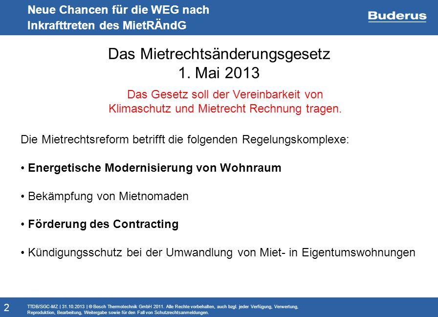 Monitoringbericht Neue Chancen für die WEG nach Inkrafttreten des MietRÄndG Das Mietrechtsänderungsgesetz 1. Mai 2013 TTDB/SGC-MZ   31.10.2013   © Bos