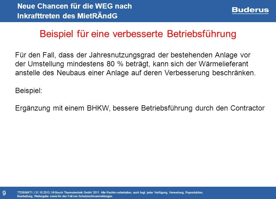 Monitoringbericht Neue Chancen für die WEG nach Inkrafttreten des MietRÄndG Beispiel für eine verbesserte Betriebsführung TTDB/MKT1 | 31.10.2013 | © Bosch Thermotechnik GmbH 2011.