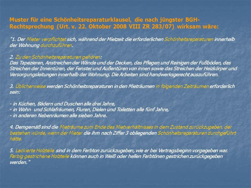 Farbwahlvorgaben während der Mietzeit unzulässig BGH, Urteil vom 18.