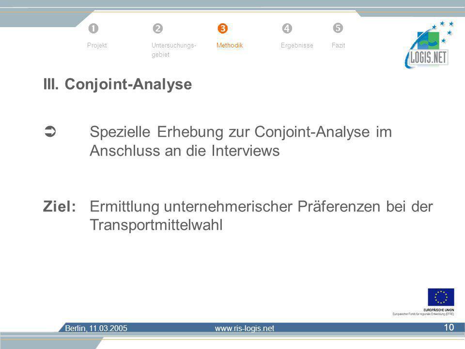 Berlin, 11.03.2005 www.ris-logis.net 10 III. Conjoint-Analyse Spezielle Erhebung zur Conjoint-Analyse im Anschluss an die Interviews Ziel: Ermittlung