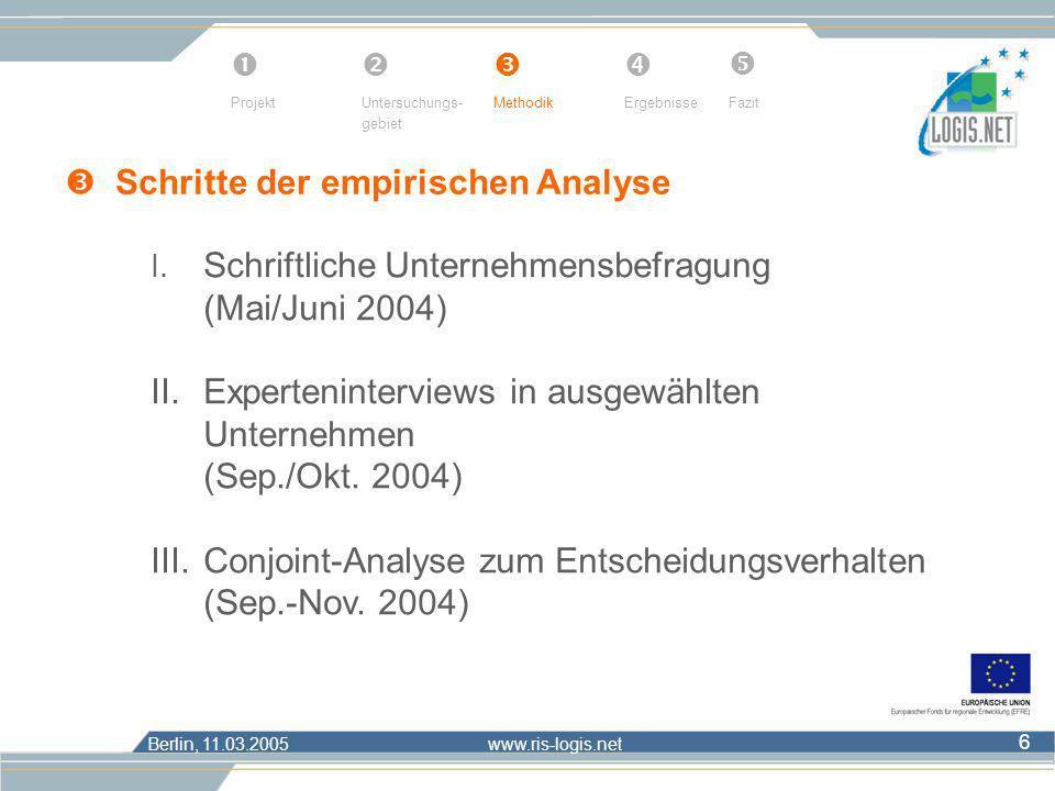 Berlin, 11.03.2005 www.ris-logis.net 6 I. Schriftliche Unternehmensbefragung (Mai/Juni 2004) II.Experteninterviews in ausgewählten Unternehmen (Sep./O