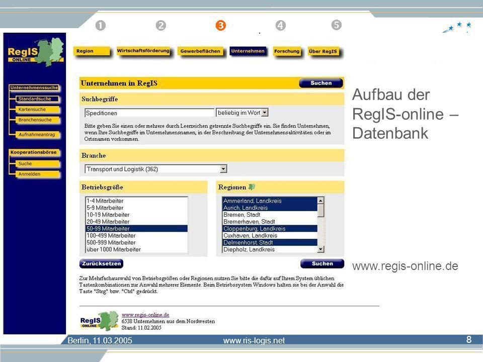 Berlin, 11.03.2005 www.ris-logis.net 8 Unternehmensart Brutto- stichprobe Netto- stichprobe Anzahl Rücklauf Rücklaufquote (in %) Verladende Wirtschaft