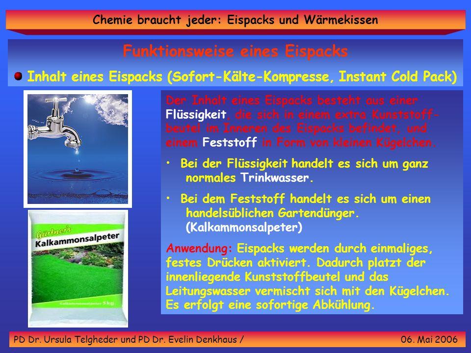 Chemie braucht jeder: Eispacks und Wärmekissen PD Dr. Ursula Telgheder und PD Dr. Evelin Denkhaus / 06. Mai 2006 Funktionsweise eines Eispacks Inhalt
