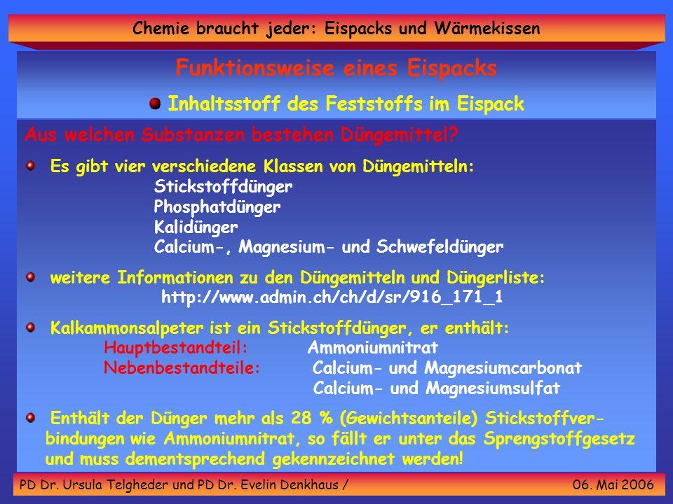 Chemie braucht jeder: Eispacks und Wärmekissen PD Dr. Ursula Telgheder und PD Dr. Evelin Denkhaus / 06. Mai 2006 Aus welchen Substanzen bestehen Dünge
