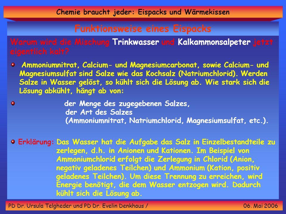 Chemie braucht jeder: Eispacks und Wärmekissen PD Dr. Ursula Telgheder und PD Dr. Evelin Denkhaus / 06. Mai 2006 Funktionsweise eines Eispacks Warum w