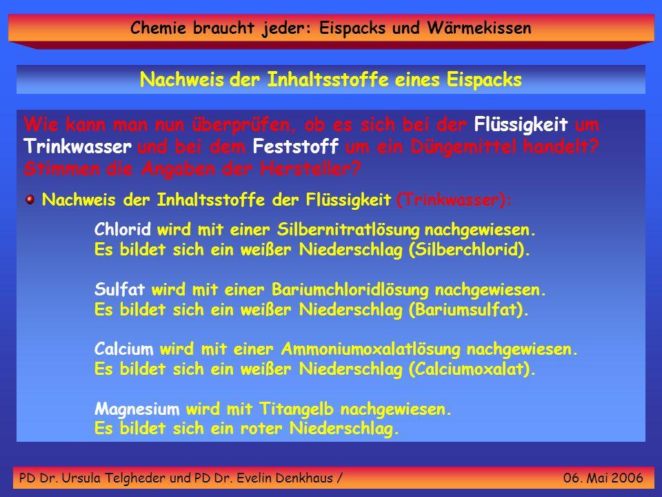 Chemie braucht jeder: Eispacks und Wärmekissen PD Dr. Ursula Telgheder und PD Dr. Evelin Denkhaus / 06. Mai 2006 Wie kann man nun überprüfen, ob es si