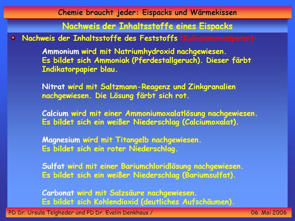 Chemie braucht jeder: Eispacks und Wärmekissen PD Dr. Ursula Telgheder und PD Dr. Evelin Denkhaus / 06. Mai 2006 Nachweis der Inhaltsstoffe des Festst