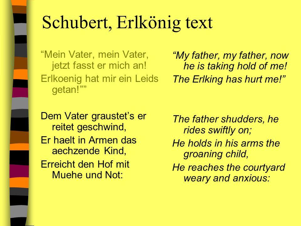 Schubert, Erlkönig text Mein Vater, mein Vater, jetzt fasst er mich an! Erlkoenig hat mir ein Leids getan! Dem Vater graustets er reitet geschwind, Er