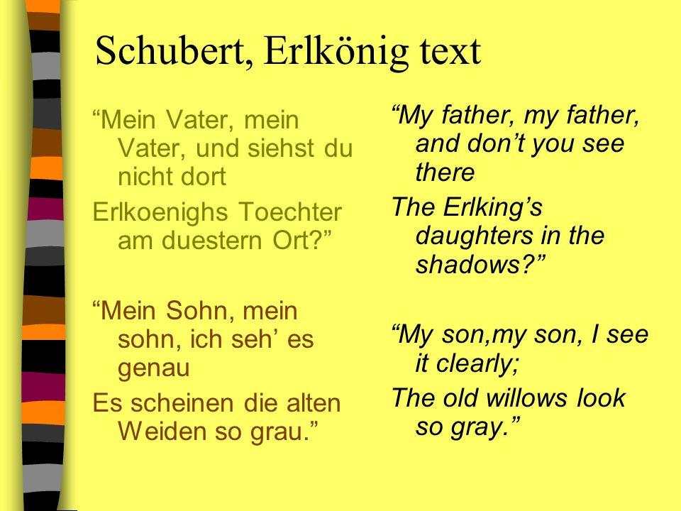Schubert, Erlkönig text Mein Vater, mein Vater, und siehst du nicht dort Erlkoenighs Toechter am duestern Ort? Mein Sohn, mein sohn, ich seh es genau