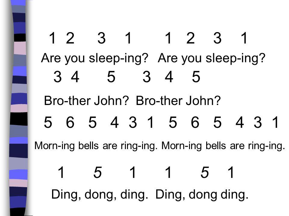 1 2 3 1 1 2 3 1 Are you sleep-ing? 3 4 5 3 4 5 5 6 5 4 3 1 5 6 5 4 3 1 1 5 1 1 5 1 Bro-ther John? Morn-ing bells are ring-ing. Morn-ing bells are ring