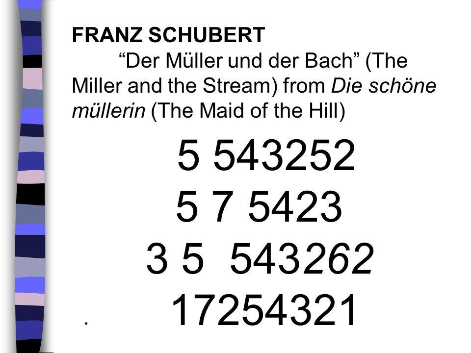 5 543252 5 7 5423 3 5 543262 17254321 FRANZ SCHUBERT Der Müller und der Bach (The Miller and the Stream) from Die schöne müllerin (The Maid of the Hil