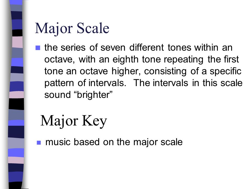 Minor Scale the series of seven different tones within an octave, with an eighth tone repeating the first tone an octave higher, consisting of a specific pattern of intervals.