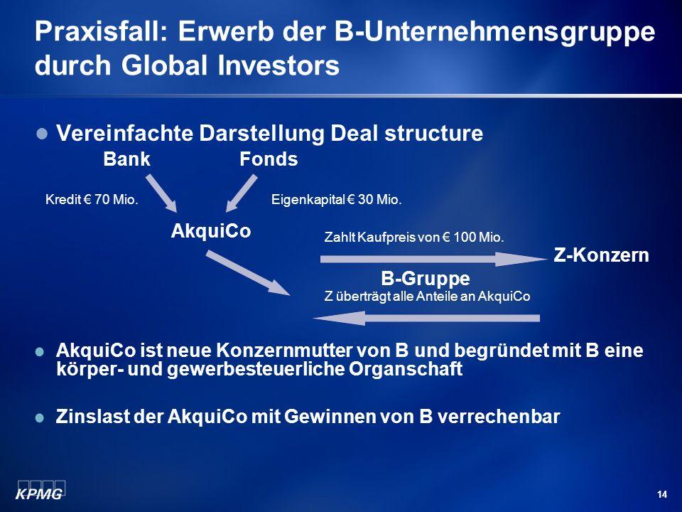 14 Praxisfall: Erwerb der B-Unternehmensgruppe durch Global Investors Vereinfachte Darstellung Deal structure BankFonds AkquiCo Z-Konzern B-Gruppe Akq