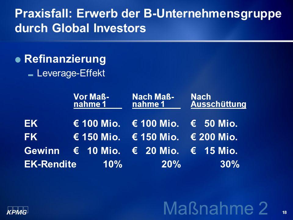 18 Praxisfall: Erwerb der B-Unternehmensgruppe durch Global Investors Refinanzierung Leverage-Effekt Vor Maß-Nach Maß-Nach nahme 1 nahme 1 Ausschüttun