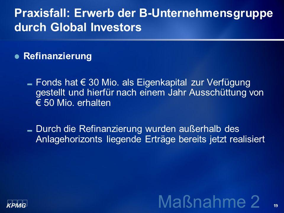 19 Praxisfall: Erwerb der B-Unternehmensgruppe durch Global Investors Refinanzierung Fonds hat 30 Mio. als Eigenkapital zur Verfügung gestellt und hie