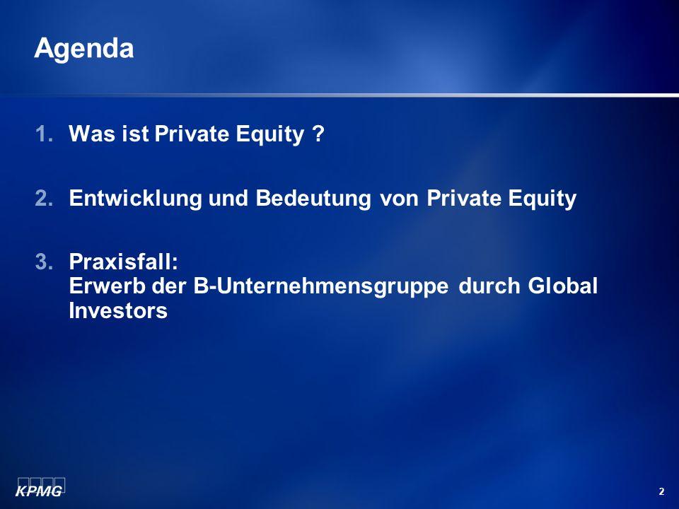 2 Agenda 1.Was ist Private Equity ? 2.Entwicklung und Bedeutung von Private Equity 3.Praxisfall: Erwerb der B-Unternehmensgruppe durch Global Investor