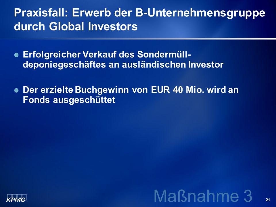 21 Praxisfall: Erwerb der B-Unternehmensgruppe durch Global Investors Erfolgreicher Verkauf des Sondermüll- deponiegeschäftes an ausländischen Investo