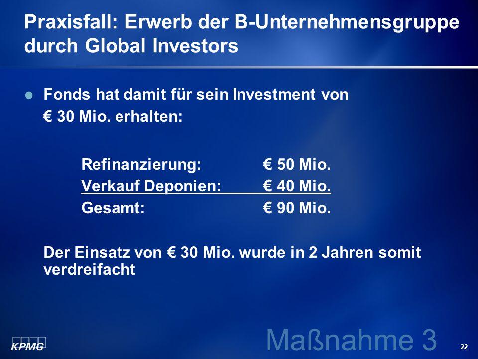 22 Praxisfall: Erwerb der B-Unternehmensgruppe durch Global Investors Fonds hat damit für sein Investment von 30 Mio. erhalten: Refinanzierung: 50 Mio