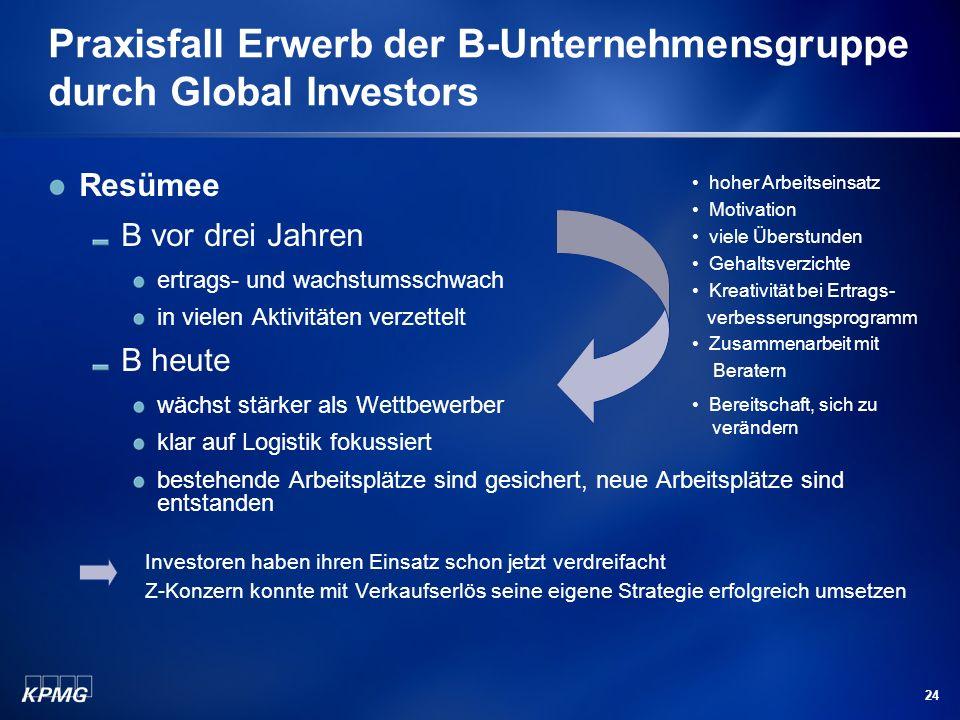 24 Praxisfall Erwerb der B-Unternehmensgruppe durch Global Investors Resümee B vor drei Jahren ertrags- und wachstumsschwach in vielen Aktivitäten ver
