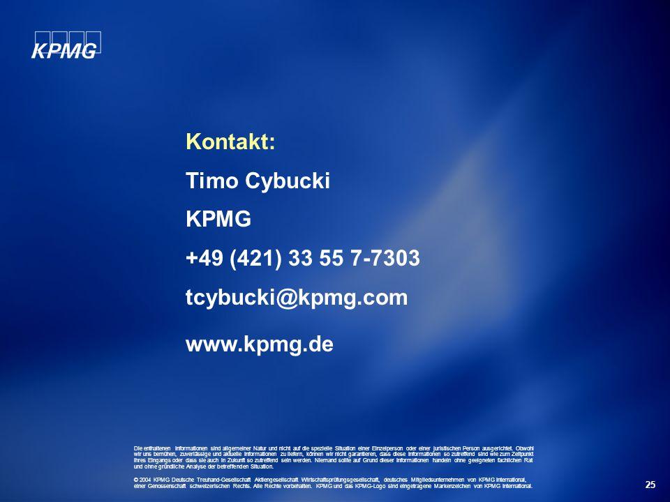 25 Kontakt: Timo Cybucki KPMG +49 (421) 33 55 7-7303 tcybucki@kpmg.com www.kpmg.de Die enthaltenen Informationen sind allgemeiner Natur und nicht auf