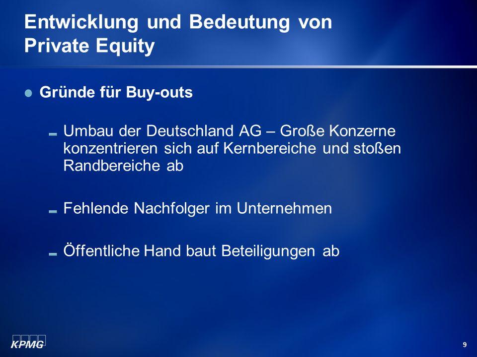 9 Entwicklung und Bedeutung von Private Equity Gründe für Buy-outs Umbau der Deutschland AG – Große Konzerne konzentrieren sich auf Kernbereiche und s