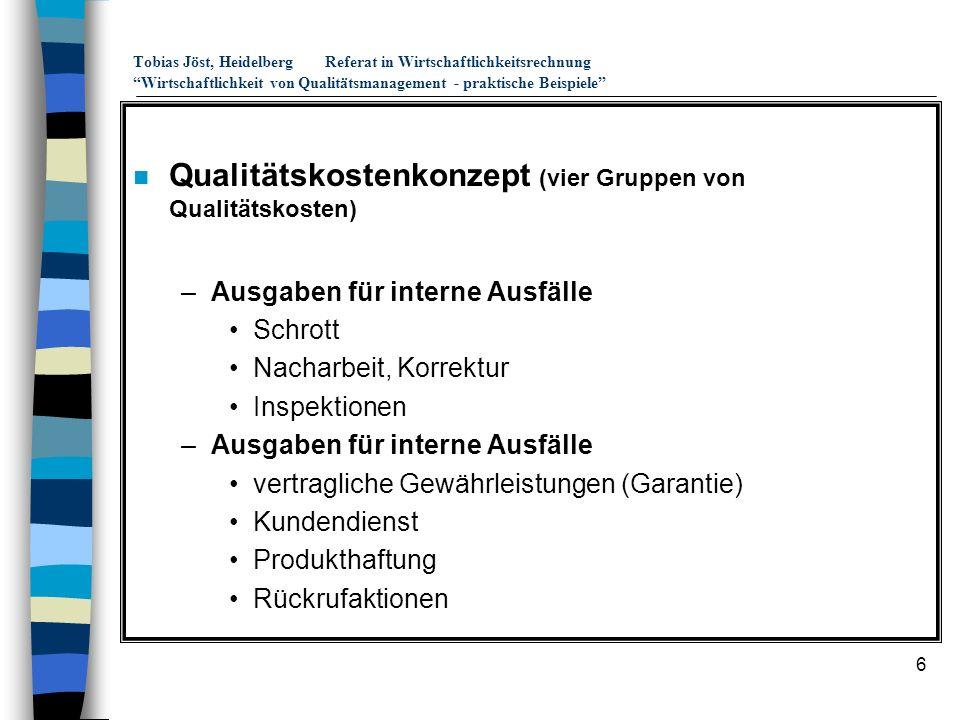 6 Tobias Jöst, HeidelbergReferat in Wirtschaftlichkeitsrechnung Wirtschaftlichkeit von Qualitätsmanagement - praktische Beispiele n Qualitätskostenkon