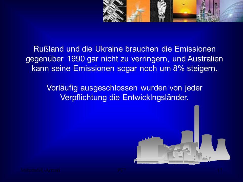 Mehrdad H.-ArmakiPE717 Rußland und die Ukraine brauchen die Emissionen gegenüber 1990 gar nicht zu verringern, und Australien kann seine Emissionen sogar noch um 8% steigern.