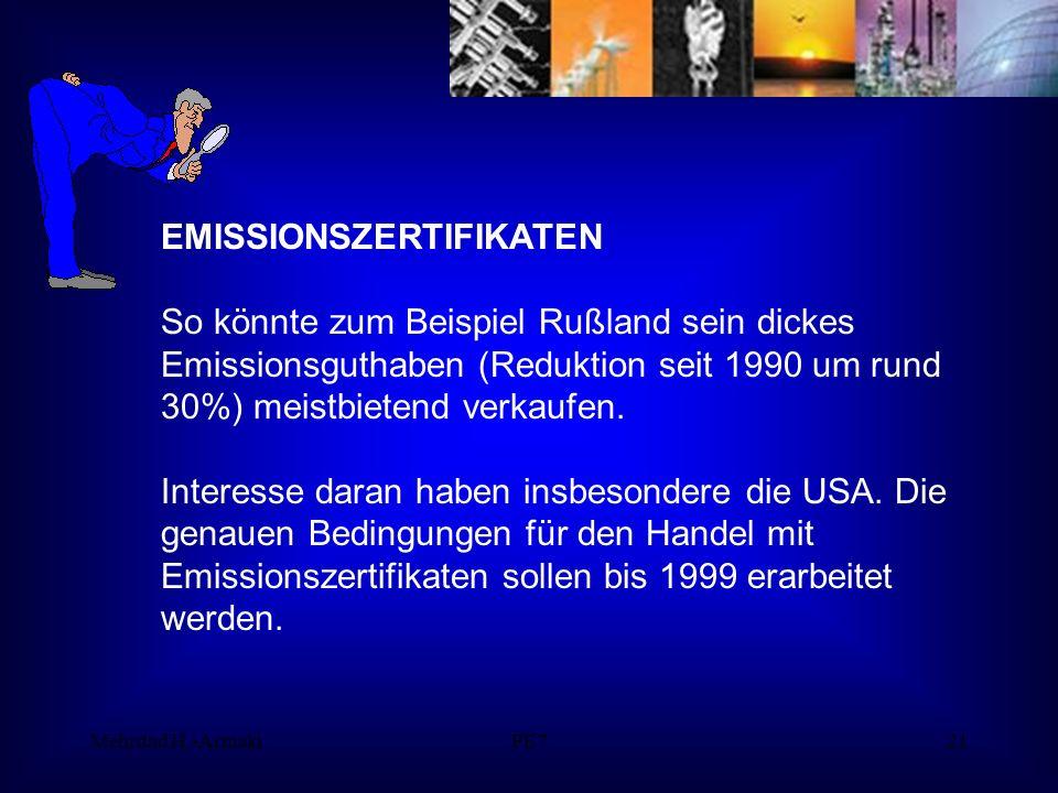 Mehrdad H.-ArmakiPE721 EMISSIONSZERTIFIKATEN So könnte zum Beispiel Rußland sein dickes Emissionsguthaben (Reduktion seit 1990 um rund 30%) meistbietend verkaufen.