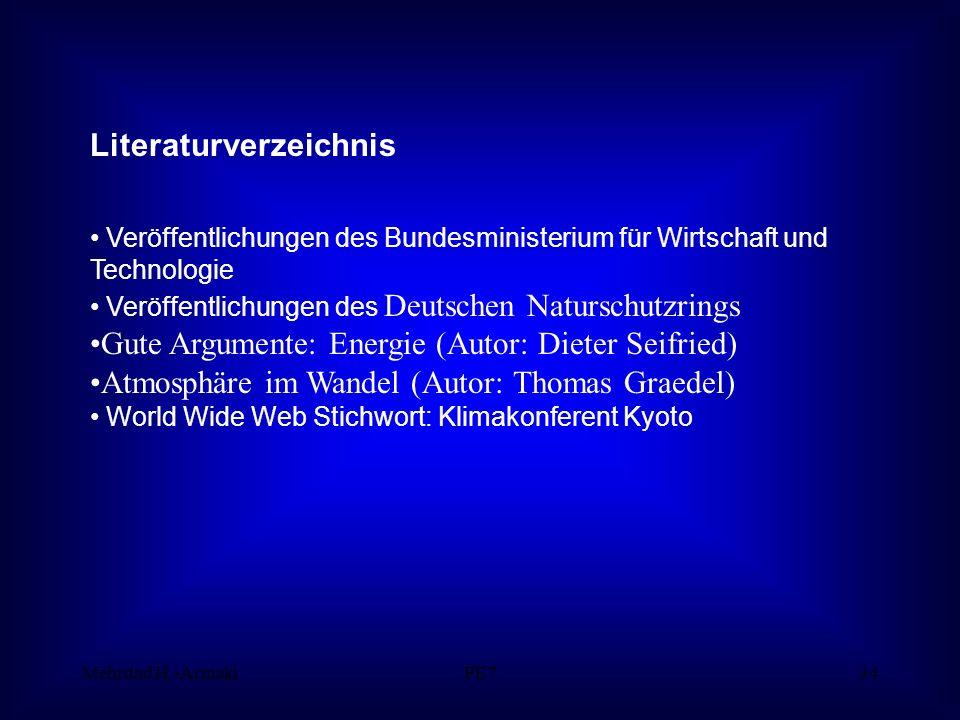 Mehrdad H.-ArmakiPE734 Literaturverzeichnis Veröffentlichungen des Bundesministerium für Wirtschaft und Technologie Veröffentlichungen des Deutschen Naturschutzrings Gute Argumente: Energie (Autor: Dieter Seifried) Atmosphäre im Wandel (Autor: Thomas Graedel) World Wide Web Stichwort: Klimakonferent Kyoto