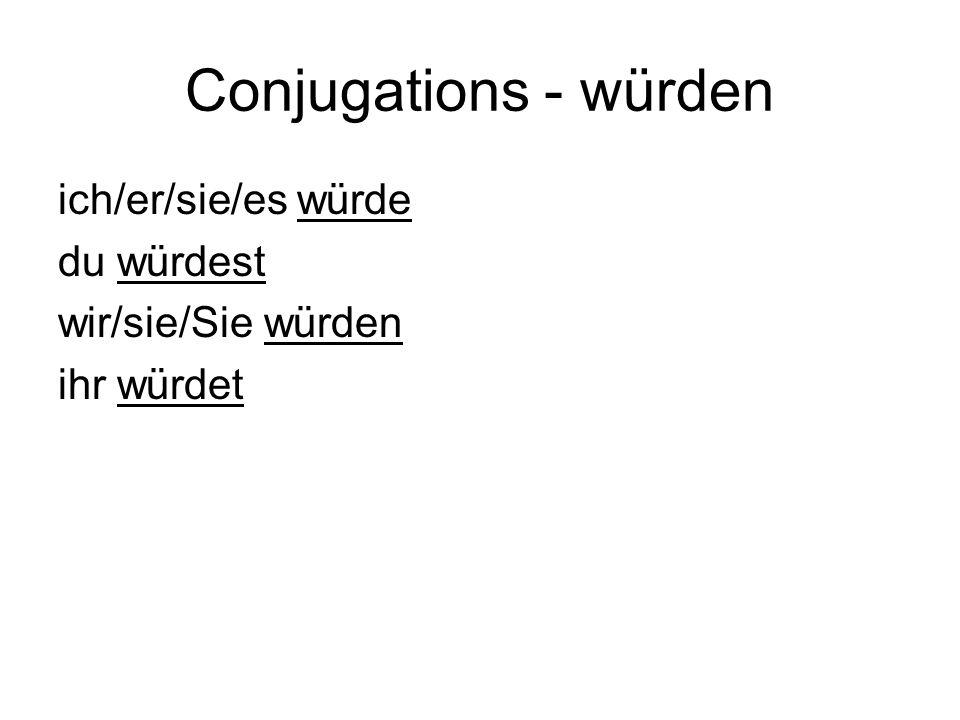 Conjugations - würden ich/er/sie/es würde du würdest wir/sie/Sie würden ihr würdet