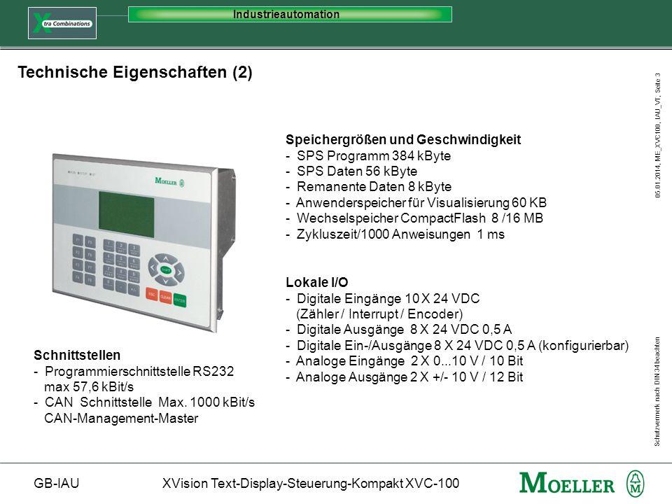 Schutzvermerk nach DIN 34 beachten GB-IAUXVision Text-Display-Steuerung-Kompakt XVC-100 Industrieautomation 05.01.2014, ME_XVC100, IAU_VT, Seite 3 Spe