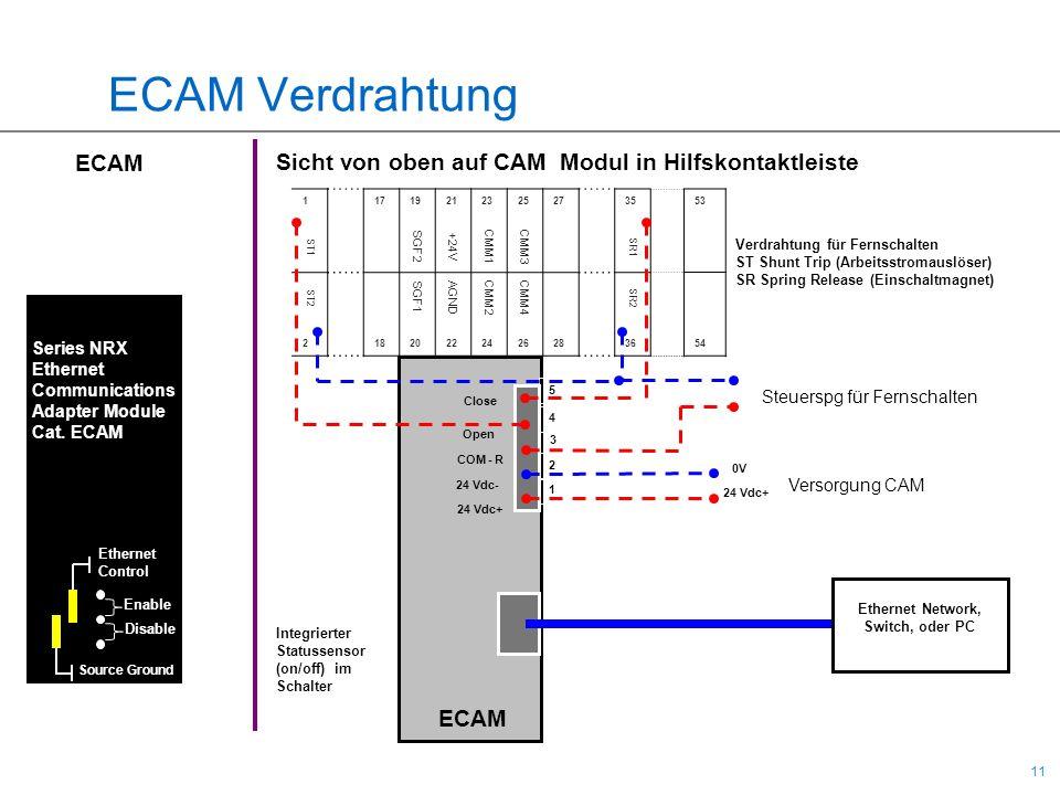 11 ECAM Verdrahtung 5 4 3 2 1 Close Open COM - R 24 Vdc- 24 Vdc+ 117192123252735 218202224262836 ST1 SGF2 +24V CMM1CMM3 SR1 ST2 SGF1 AGND CMM2CMM4 SR2