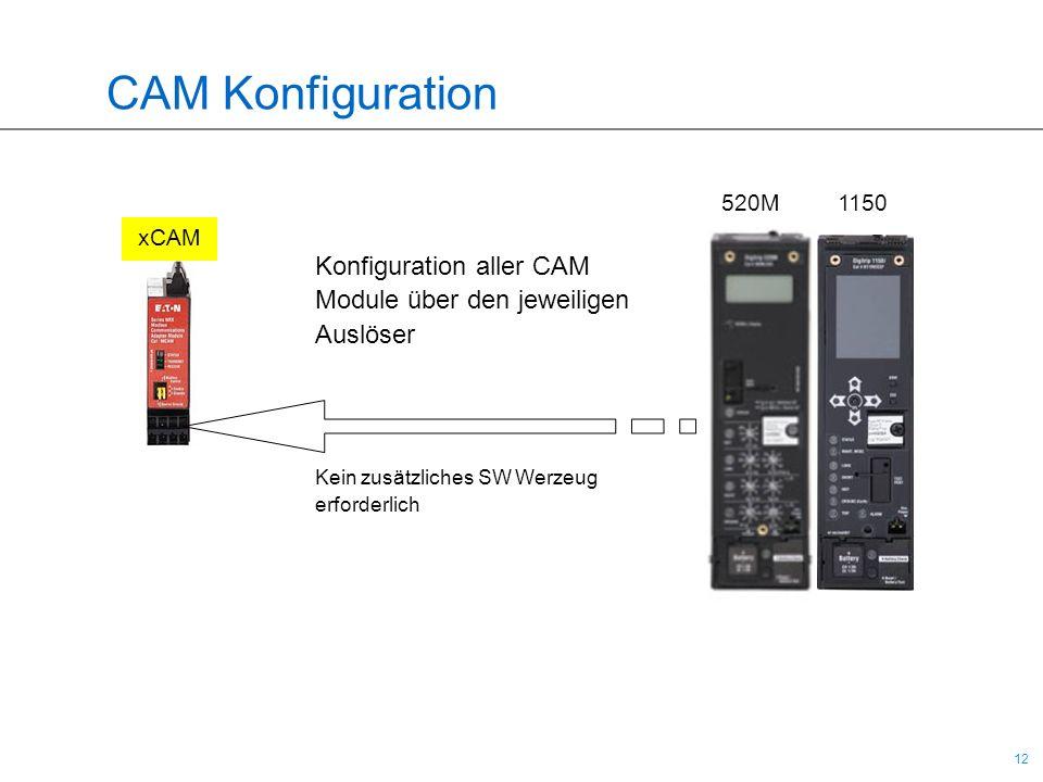 12 CAM Konfiguration xCAM Konfiguration aller CAM Module über den jeweiligen Auslöser Kein zusätzliches SW Werzeug erforderlich 520M 1150