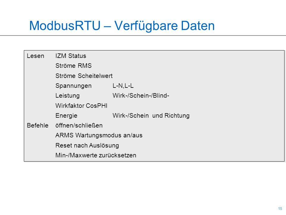 15 ModbusRTU – Verfügbare Daten LesenIZM Status Ströme RMS Ströme Scheitelwert Spannungen L-N,L-L Leistung Wirk-/Schein-/Blind- Wirkfaktor CosPHI Ener