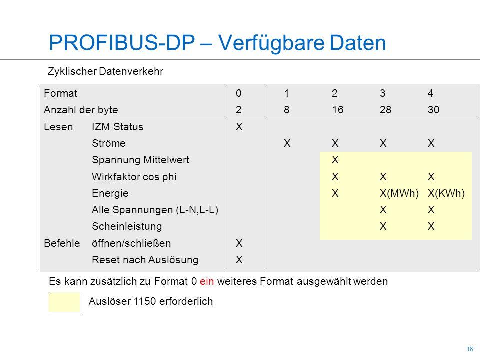 16 PROFIBUS-DP – Verfügbare Daten Es kann zusätzlich zu Format 0 ein weiteres Format ausgewählt werden Zyklischer Datenverkehr Format01234 Anzahl der