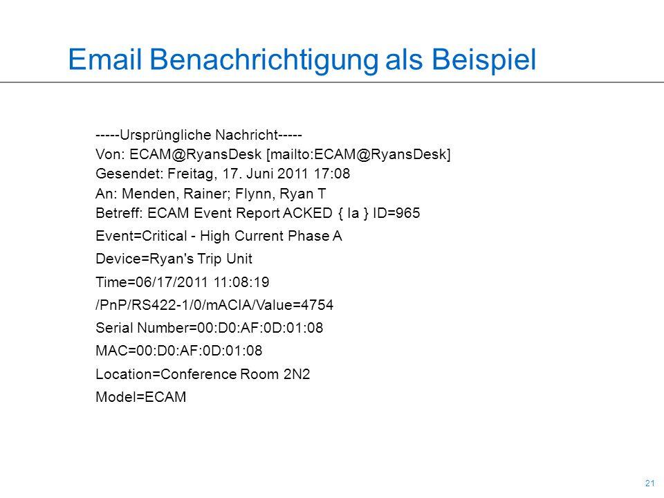 21 Email Benachrichtigung als Beispiel -----Ursprüngliche Nachricht----- Von: ECAM@RyansDesk [mailto:ECAM@RyansDesk] Gesendet: Freitag, 17. Juni 2011