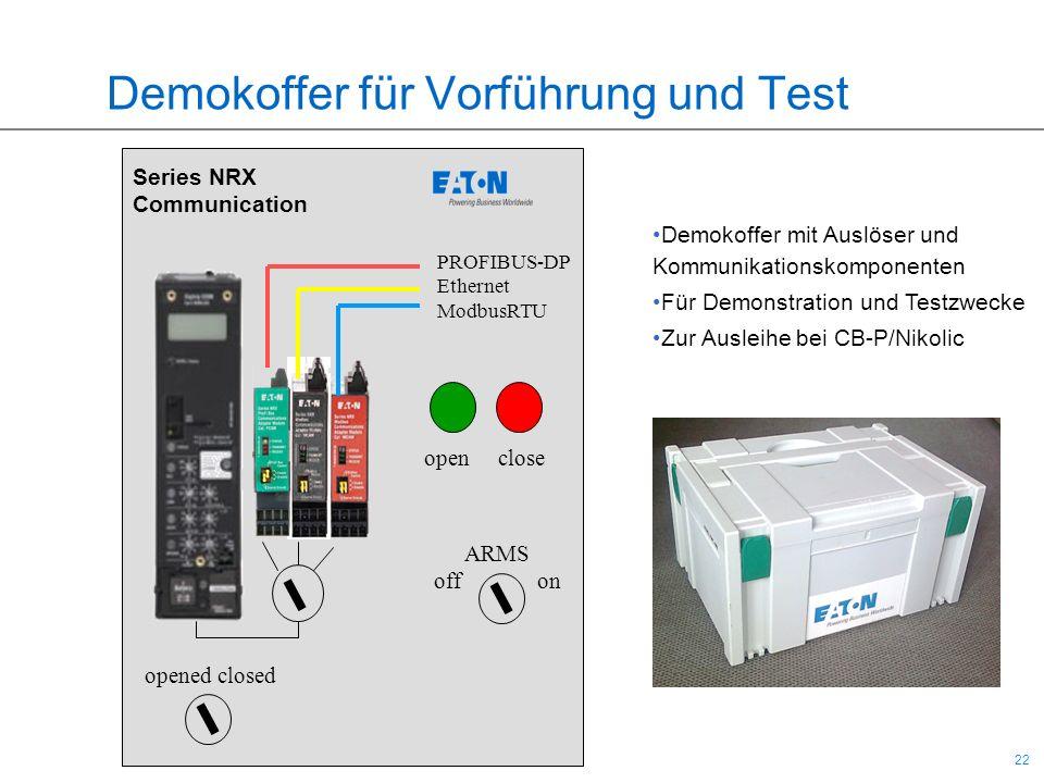 22 Demokoffer für Vorführung und Test Series NRX Communication open close opened closed PROFIBUS-DP Ethernet ModbusRTU ARMS offon Demokoffer mit Auslö