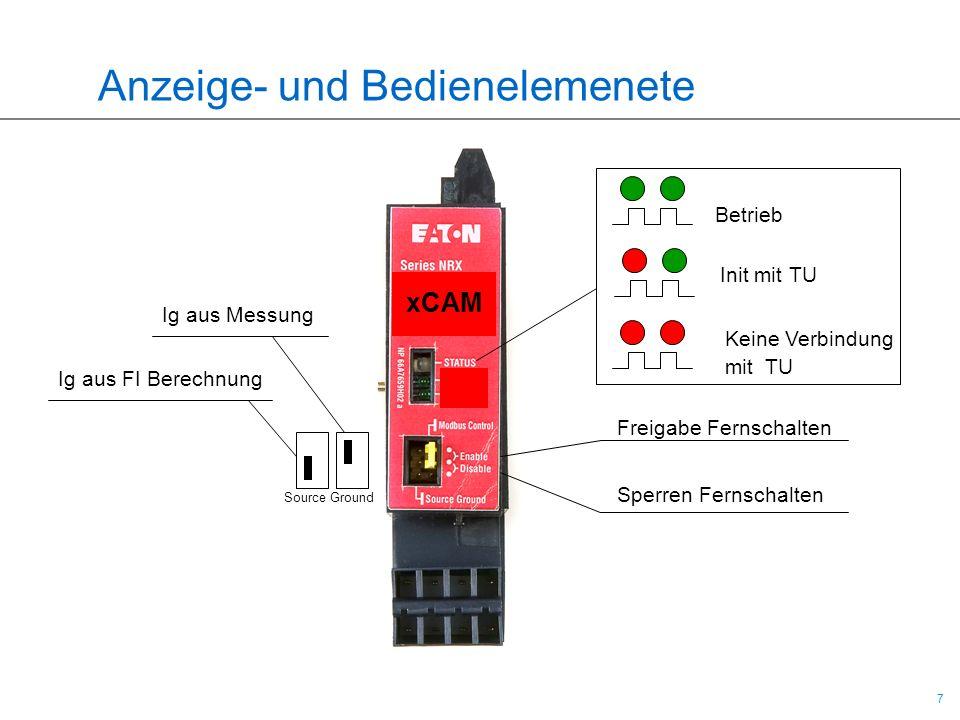 7 7 Anzeige- und Bedienelemenete Betrieb Init mit TU Keine Verbindung mit TU Freigabe Fernschalten Sperren Fernschalten Ig aus Messung Ig aus FI Berec